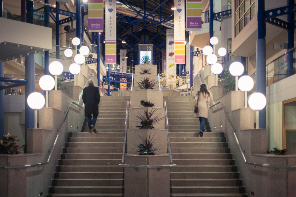 photographer, photography, Isle of Wight, Lucy Boynton, Birmingham, shopping centre, night, stairs, symmetry,